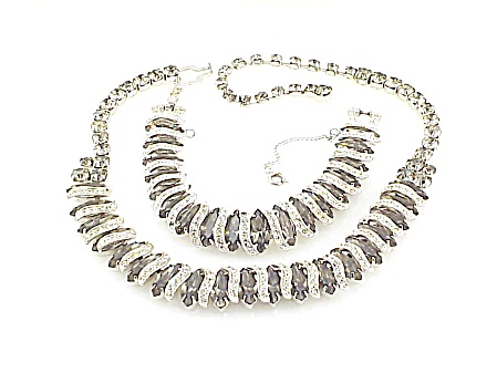 Vintage Weiss Black Diamond Grey Rhinestone Necklace And Bracelet Set