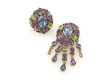 Sweet Romance Multicolored Rhinestone Ring And Matching Brooch Set