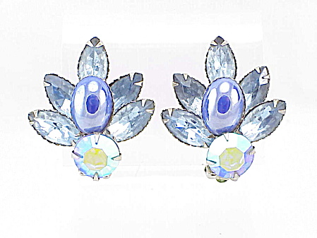 Vintage Blue Glass Cabachon And Rhinestone Clip Earrings