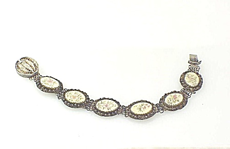 ANTIQUE CHINESE ASIAN SILVER FILIGREE CARVED BONE BRACELET WITH FLOWER (Image1)