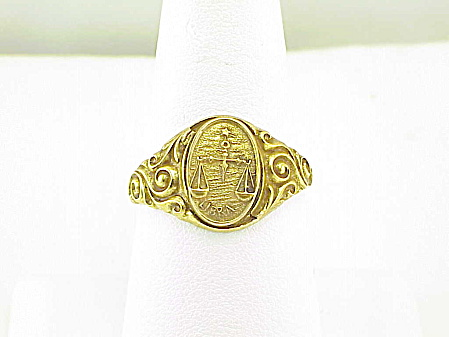 Vintage Art Nouveau 14k Gold Shell Libra Scales Zodiac Sign Ring