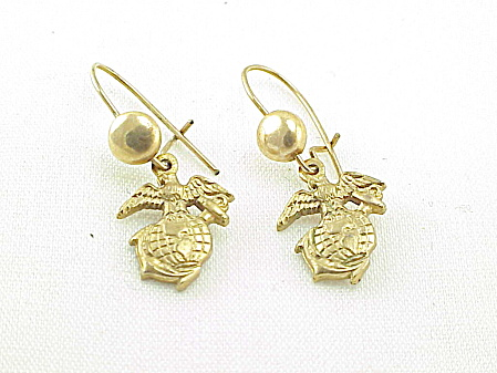Vintage Dangling Marine Corps Emblem Pierced Earrings