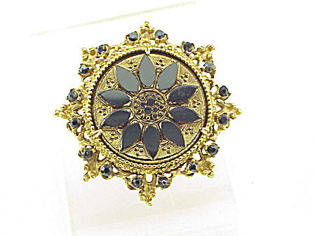Vintage Florenza Black Gold Glass And Rhinestone Brooch