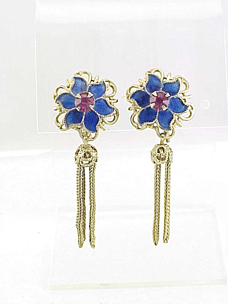 Vintage Blue Enamel Pink Rhinestone And Tassel Screw Back Earriings
