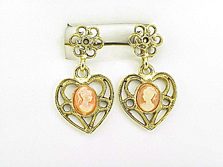 Vintage Style Dangling Cameo Heart Shaped Pierced Earrings
