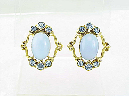 Vintage Faux Blue Glass Moonstone & Blue Rhinestone Clip Earrings