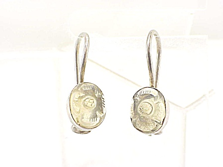 Sterling Silver & Carved Citrine Gemstone Flower Pierced Earrings