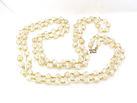 Venetian Sommerso White & Gold Aventurine Glass Bead Flapper Necklace