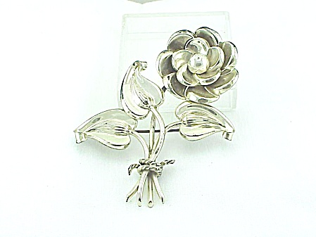 Rare Boucher Parisina Taxco Mexico Sterling Silver Big Flower Brooch