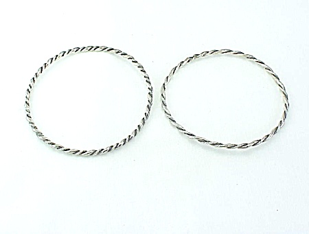 Two Vintage Sterling Silver Twisted Cable Bangle Bracelets