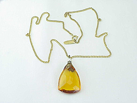 Vintage Whiting & Davis Large Amber Glass Pendant Necklace