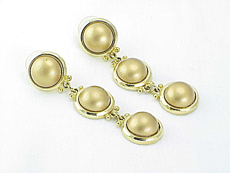 Long Dangling Faux Gold Pearl Pierced Earrings