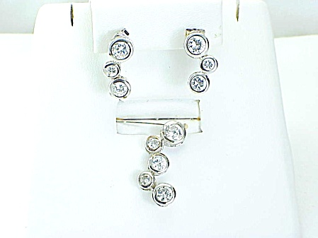 Sterling Silver Cubic Zirconia Rhinestone Pendant Pierced Earrings Set