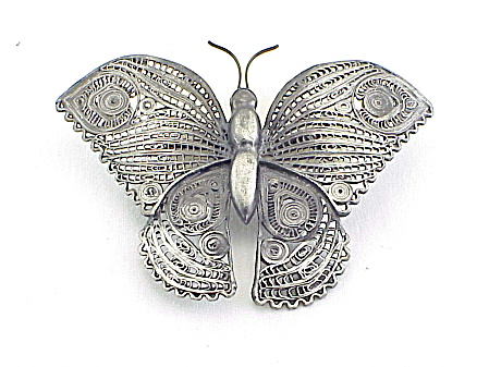 Large Vintage Filigree Butterfly Brooch