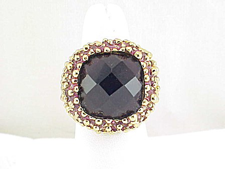 Large Chunky Amethyst Glass Rhinestone Gold Tone Enameled Ring Signed