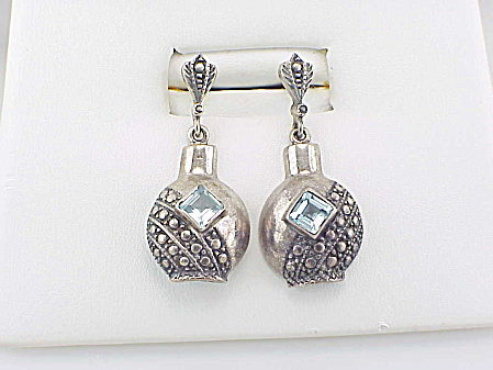 DANGLING SIGNED STERLING SILVER BOTTLE BLUE TOPAZ PIERCED EARRINGS (Image1)