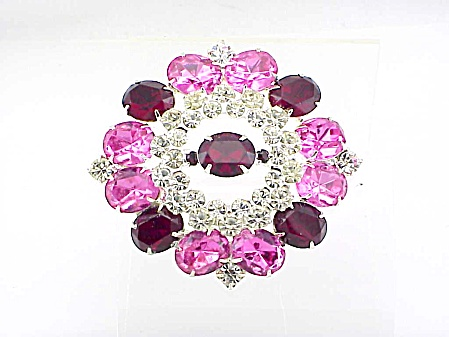 Vintage Hobe' Pink, Dark Red And Clear Rhinestone Brooch