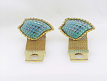 Vintage Large Iridescent Blue Green Glass Cufflinks For French Cuffs