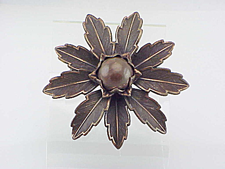 Vintage Copper Flower Brooch Signed Copper By Bell