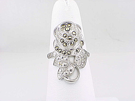 Vintage Uncas Sterling Silver And Marcasite Rose Flower Ring