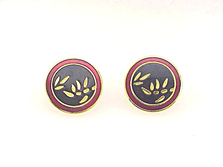 Laurel Burch Lucky Bamboo Black Red Cloisonne Enamel Pierced Earrings