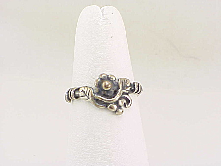 Vintage Art Nouveau Flower Sterling Silver Ring