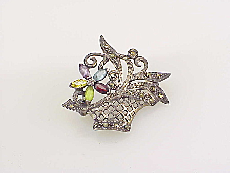 Vintage Sterling Silver Marcasite Gemstone Flower Basket Brooch