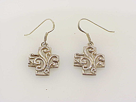 Art Nouveau Style Sterling Silver Maltese Cross Pierced Earrings