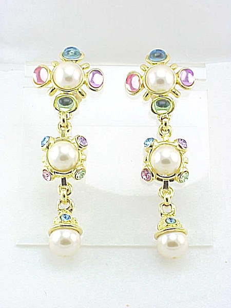 Massive Long Shoulder Duster Pearl And Glass Stone Clip Earrings
