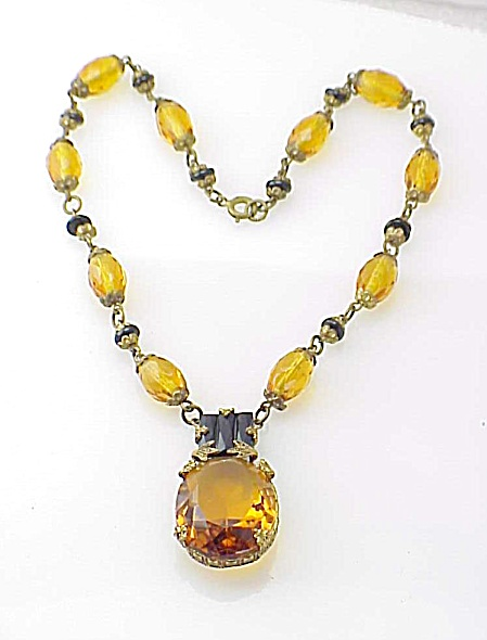 Vintage Victorian Czech Amber Glass And Molded Black Glass Necklace