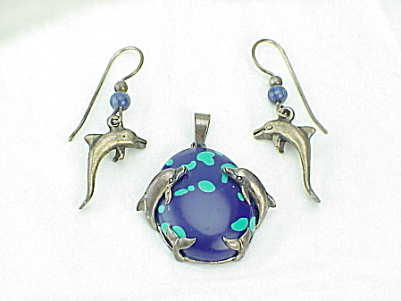 Sterling Silver And Azurite Dolphin Pendant And Pierced Earrings Set