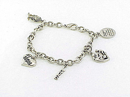 Silver Tone Bracelet With Charms Honoring Mother And A Mother's Love