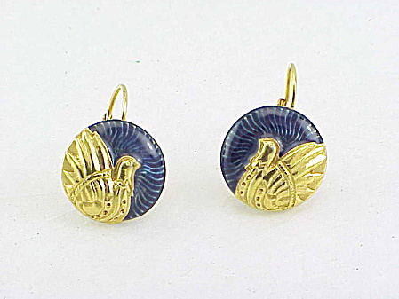 Berebi Dark Purple Enamel And Gold Tone Bird Pierced Earrings