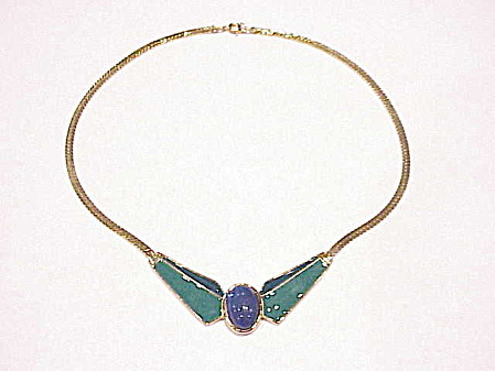 Trifari Blue And Green Enamel Gold Tone Necklace With Lucite Stone