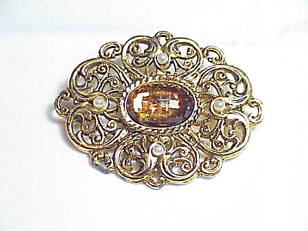 Vintage Amber Rhinestone And Pearl Filigree Brooch