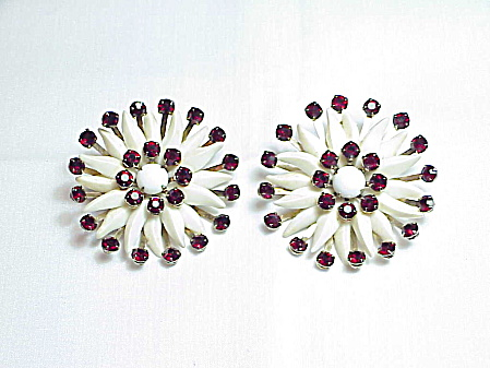 Vintage Large Dark Red Rhinestone Flower Clip Earrings