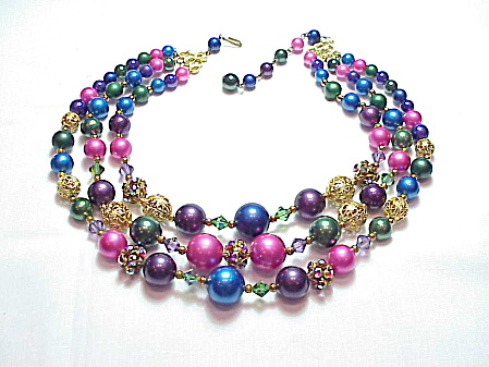 Vintage 3 Strand Pink Blue Purple Green Pearl Rhinestone Bead Necklace