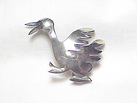 Vintage Handmade Sterling Silver Duck Or Goose Brooch