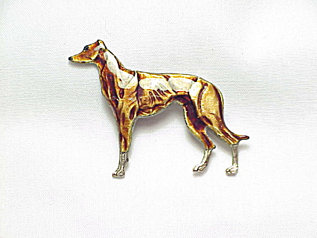 Vintage Enamel Greyhound Or Whippet Dog Brooch