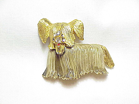 Vintage Long Haired Lhasa Apsa Or Terrier Dog Brooch