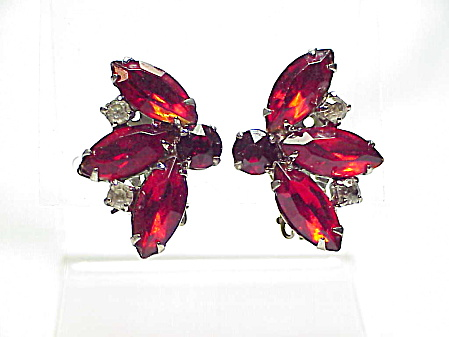 Vintage Red Navette And Clear Rhinestone Clip Earrings