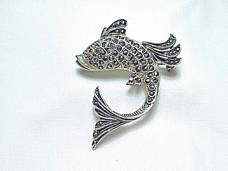 Sterling Silver And Marcasite Fish Brooch
