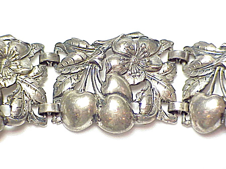 Vintage Cini Wide Sterling Silver Cherry And Flower Link Bracelet