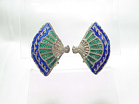 Vintage Siam Sterling Silver Blue Green Enamel Fan Clip Earrings