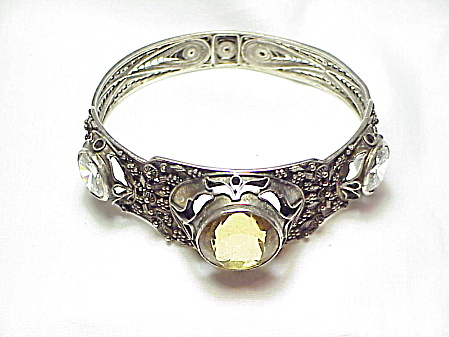 Antique Victorian Sterling Silver Citrine And Spinel Bangle Bracelet