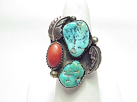 Signed Native American Sterling Slver Turquoise Red Coral Ring