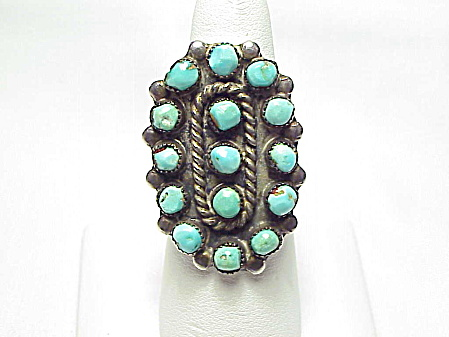Native American Zuni Petit Point Turquoise Sterling Silver Ring