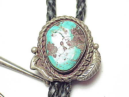 Vintage Native American Sterling Silver And Turquoise Bolo Slide