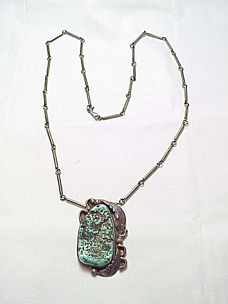 Native American Old Pawn Turquoise Sterling Silver Pendant Necklace