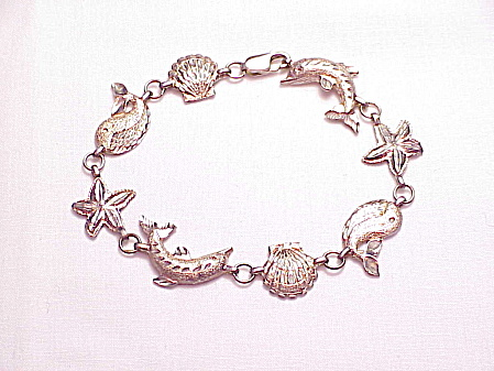 Sterling Silver Sea Theme Bracelet - Dolphin, Whale, Starfish, Shell